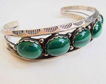 Sterling Silver and Malachite Southwestern Native American Cuff Bracelet