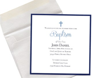 Baptism Invitation Boy Navy- Christening, First Communion, Confirmation, Dedication