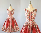 Vintage 50s Dress/ 1950s Cotton Dress/ Burgundy Tribal Print Cotton Dress w/ Full Skirt and Bows M