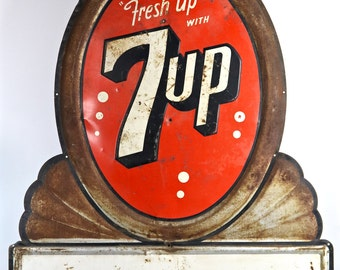 Vintage 7Up Sign, XXL 7Up Metal, Seven Up Sign, Old Soda Pop Advertising Sign, Industrial Decor