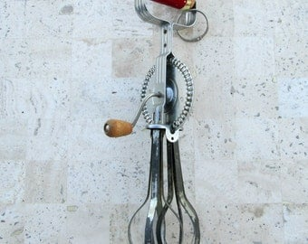 Vintage A.J. Ekco Hand Mixer Egg Beater - Made in U.S.A. - Rustic Kitchen Decor - Ready for Hanging in Your Cabin Kitchen - Chippy Paint