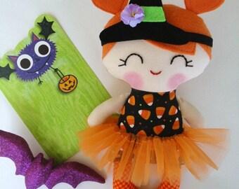 Handmade cloth doll,Ragdoll,Cloth doll,Fabric doll, Halloween doll, Fall doll...Eco-Friendly Doll... sweet ragdoll...READY TO SHIP.