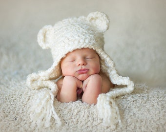 Baby Bear Earflap Hat, Newborn earflap hat - Photo prop