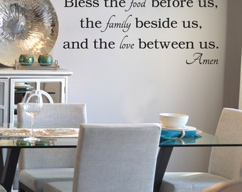 Bless the food before us Decal, Bless the Food Decal, Kitchen Decal, Kitchen Wall Decal, Prayer Wall Decal, Kitchen Prayer, Religious Decal