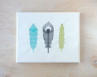 Embroidered Canvas Wall Art - 3 Feathers