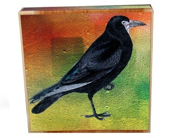 Wooden Block, Black Crow Standing, Fall Colors, Poe Crow, Nevermore