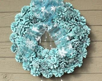 Robin's Egg Wreath, Pinecone Wreath, Holiday Wreath, Front Door Wreath, Holiday Decor, Pearl Spray Trim, Christmas Decor, Glitter Wreath
