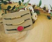 Black and Gold Adjustable Bracelet Stack
