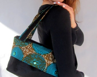 Shoulder hand bag - African print Turquoise black small hand bag
