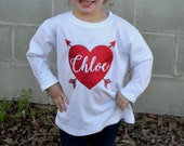 Personalized Heart Toddler Valentine's Day Shirt with Heart Elbow Patches - Arrows - Glitter