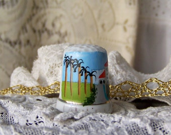 Vintage Catalina Island Porcelain Thimble Souvenir Thimble California Sewing Room Thimble Collector Vintage 1980s