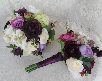 Wedding Bouquet, Plum Purple Bridal Bouquet, Purple Wedding Flowers, Vintage Wedding, Silk Wedding Flowers, Roses & Hydrangea Bouquet,