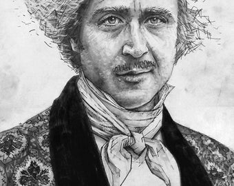 It's pronounced Fronkensteen.  Gene Wilder in Young Frankenstein Giclee of a pencil drawing.
