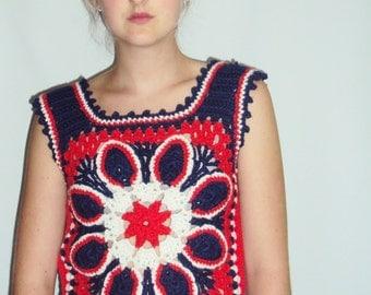 70s Boho Hippie Crochet Sweater VEST Red, White, Blue S