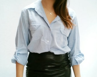 silhouettes oversisized light blue and white checkered buttondown