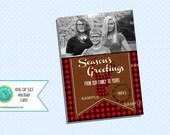 Christmas Card Season's Greetings Photo Card Buffalo Check Buffalo Plaid red black plaid deer buck