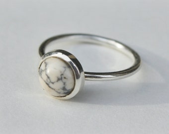 Marble Howlite Solitaire Ring in Sterling Silver - sterling silver marble ring - marble solitaire ring - marble jewelry - howlite ring