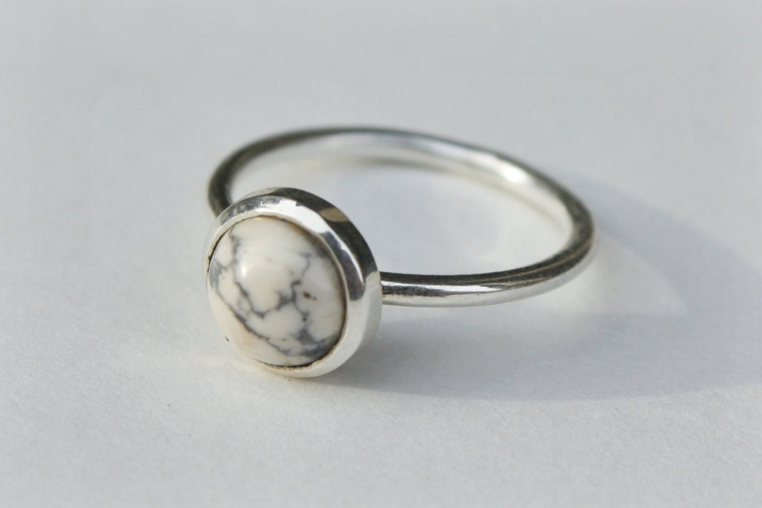 Marble howlite solitaire ring in sterling silver sterling for How to make marble jewelry