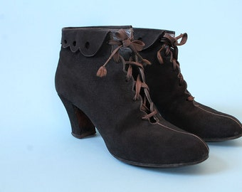 RESERVED RARE! 1930s Ankle Boots / Brown Suede Corset Lace Heeled Booties / Open Lace / Lace Up Medium Heel / 7 7.5 US