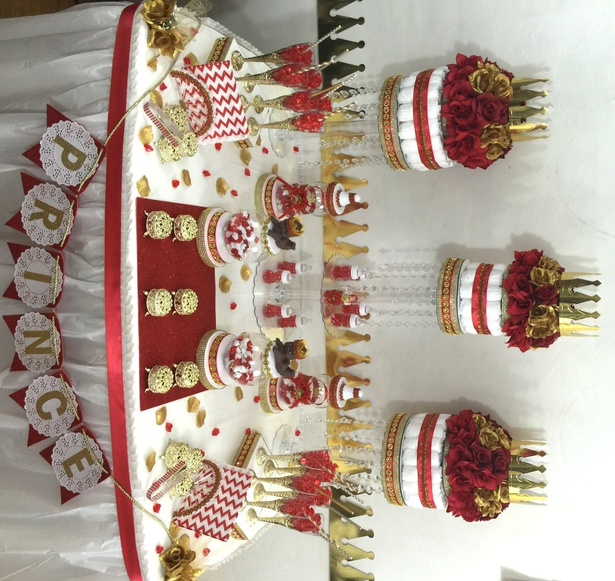 red and gold baby shower candy buffet by platinumdiapercakes