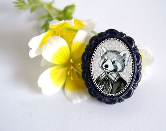 red panda brooch - victorian style anthropomorphic animal pin