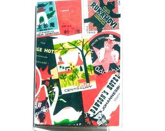 Passport Cover: Vintage Luggage Labels Design, Red, Black & Multi-Color