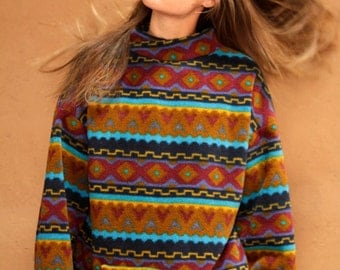 90s SLOUCHY ikat style SOUTHWEST oversize large FLEECE sweatshirt jacket