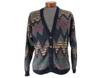 Vintage 80's Chevron Cardigan Sweater Mens Size Large