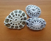 Crocheted Rocks, Set of 3 Crocheted Wish Stones, Doily Covered Polished Stones