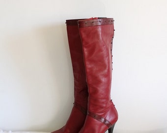 Wonder Woman Boots  - Vintage Italian Two Tone Red Leather High Boots - Size US 9 / EU 40