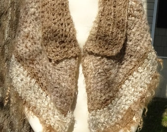 Mohair Shawl with Fringe and Collar, Handspun Yarn, Natural Colored, Brown, Cream, Handmade, Outerwear Wrap, One of a Kind, Cape