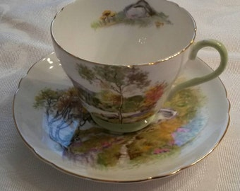 """Shelley Tea Cup and Saucer; Titled """"English Lakes"""" circa 1925-1940-  DR"""
