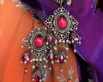 Bohemian Gypsy Filigree Chandelier Earrings, Cobalt Blue Crystal Earrings, Ornate Renaissance, Custom Colors!, Silver or Bronze, Sapphire
