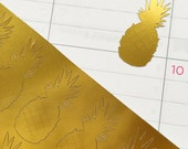 36 Gold or Silver Foil Pineapple Fruit Stickers - Planner, Agenda Seals