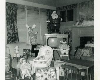 """Snapshot Photo """"Presents Galore"""" Christmas Toys Vintage Photo Old Antique Photo Black & White Photograph Found Photo Paper Ephemera - 118"""