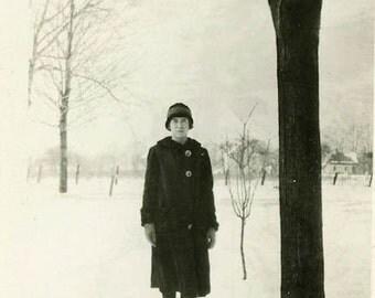 "Vintage Photo ""The Winter Visitor"" Girl Snow Snapshot Photo Old Antique Photo Black & White Photograph Found Paper Ephemera Vernacular - 111"
