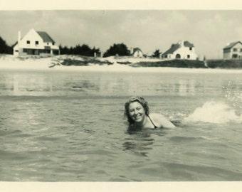 "Vintage Photo ""Wave Maker"" Beach Swimsuit Swimming Girl Snapshot Antique Photo Black & White Photograph Found Paper Ephemera Vernacular - 38"