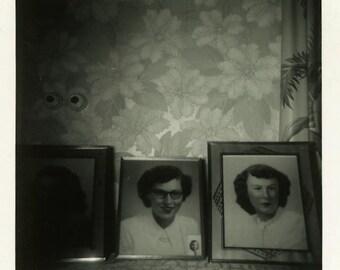 "Vintage Photo ""The Forgotten Sister"" Frame Snapshot Photo Old Antique Photo Black & White Photograph Found Paper Ephemera Vernacular - 183"