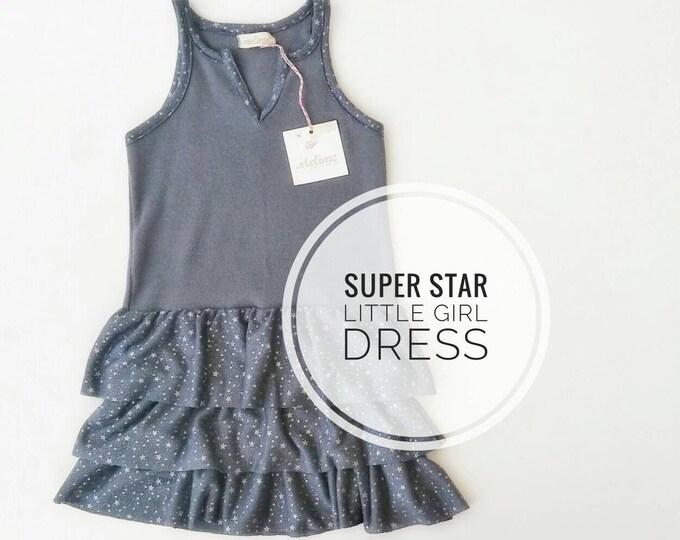 Girl Dress, Sleeveless dress, Gray Dresses with little stars, Toddler summer Dress