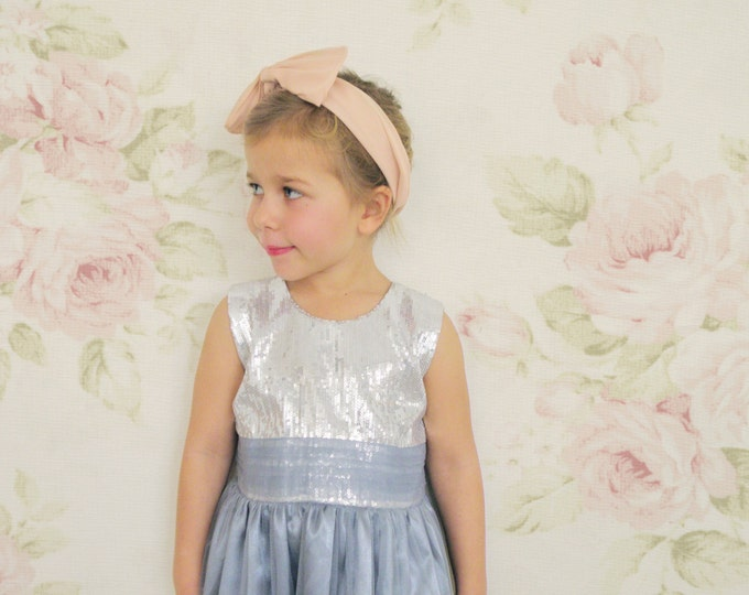 Luxury Italian Design Party Dress, Little girl Pastel Gray party dress, Light Gray Tulle dress for Party Girls, Toddler party dresses