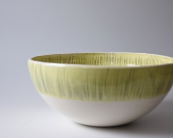 Large salad bowl. White yellow ceramic bowl. Stoneware pottery bowl. Unique wedding gift bowl. Modern ceramics and pottery by karoArt.