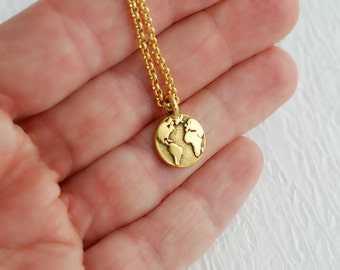 Gold Earth Necklace, charm pendant world planet map globe simple small minimal travel adventure graduation gifts gift for girlfriend