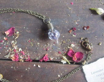 witchcraft jewelry LAVENDER vial pendant herbs pagan wicca wiccan herbs magick occult witch amulet witchy
