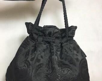 Black Goth Purse, Cinch Purse, Gothic Girls, gothic bridal bag, bridal money bag, money dance pouch, goth wedding decor, gothic wedding