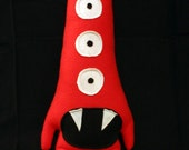 Tobias the Tall Red Five Eyed Plush Monster