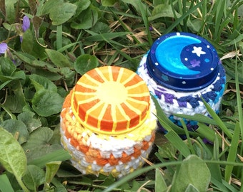 SALE! Two Medicine Recycled Glass Stash Jar set, Hand Wrapped, Hand Painted, small, hippie, crochet, container, boho,OOAK