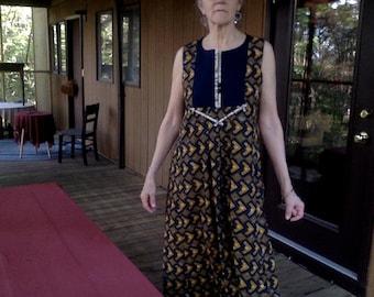 Custom Caftan Dress, Maxi Cotton Print with navy linen Yoke, Sleeveless, THE CATHERINE CAFTAN