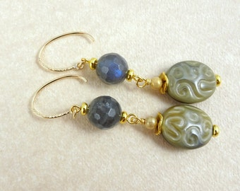 Labradorite Earrings - Labradorite and Czech Glass Bead Earrings with 14k Gold Filled Ear Wires - Grey and Gold Earrings, Beige and Taupe
