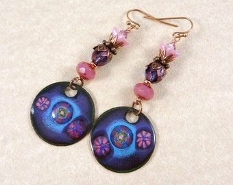 Purple and Pink Bohemian Style Earrings - Purple and Pink Charm Earrings - Enameled Copper Charm Earrings - One of a Kind