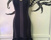 Gothic Dress - Steampunk Dress - Striped Dress - Made to Order